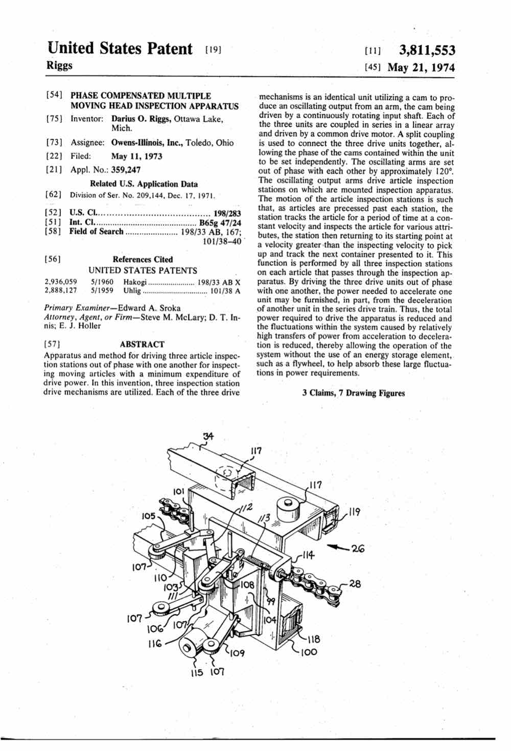 Phase compensated multiple moving head inspection apparatus